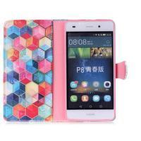 Pouzdro na mobil Huawei P8 Lite - barevné hexagony - 3/6