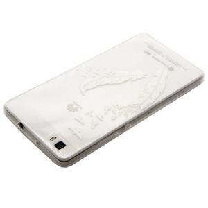 Transparentní gelový obal na Huawei Ascend P8 Lite - ptačí pírka - 3