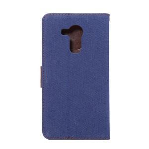 Jeans PU kožené pouzdro na mobil Huawei Mate 8 - tmavěmodré - 3