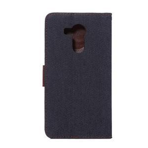 Jeans PU kožené pouzdro na mobil Huawei Mate 8 - černomodré - 3