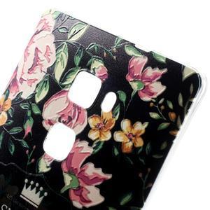 Softy gelový obal na mobil Huawei Mate S - květiny na černém pozadí - 3