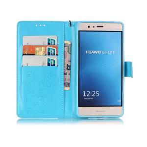 Magicfly knížkové pouzdro na telefon Huawei P9 Lite - světlemodré - 3