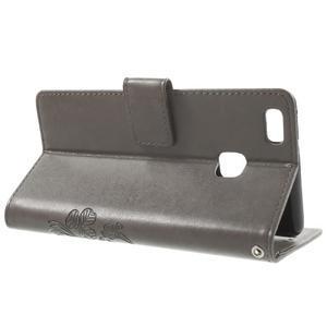 Cloverleaf peněženkové pouzdro s kamínky na Huawei P9 Lite - šedé - 3