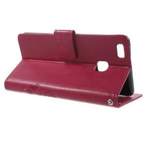 Cloverleaf peněženkové pouzdro s kamínky na Huawei P9 Lite - rose - 3