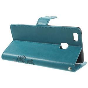 Cloverleaf peněženkové pouzdro s kamínky na Huawei P9 Lite - modré - 3