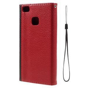 Peněženkové pouzdro na mobil Huawei P9 Lite - černé/červené - 3