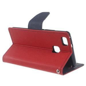 Diary PU kožené pouzdro na telefon Huawei P9 Lite - červené - 3