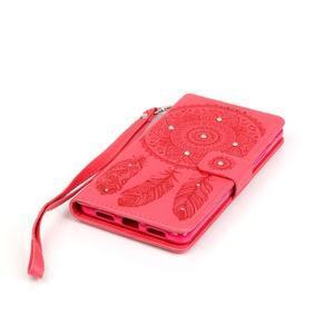 Dream PU kožené pouzdro s kamínky na Huawei P9 Lite - červené - 3
