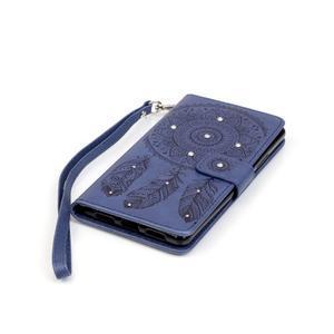 Dream PU kožené pouzdro s kamínky na Huawei P9 Lite - modré - 3