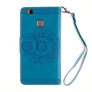 Mandala PU kožené pouzdro na Huawei P9 Lite - modré - 3