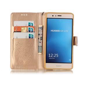 Magicfly knížkové pouzdro na telefon Huawei P9 Lite - zlaté - 3