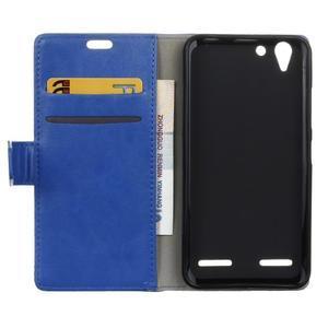Knížkové PU kožené pouzdro na Lenovo Vibe K5 / K5 Plus - modré - 3