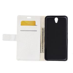 Croco PU kožené pouzdro na mobil Lenovo Vibe S1 - bílé - 3