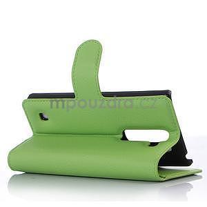 PU kožené zapínací pouzdro na LG Spirit - zelené - 3