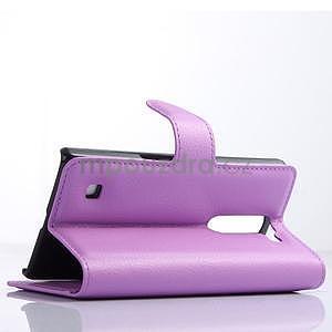 PU kožené zapínací pouzdro na LG Spirit - fialové - 3