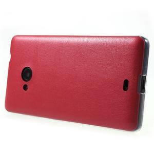 Ultra tenký kryt s jemnými koženkovými zády Microsoft Lumia 535 - červené - 3