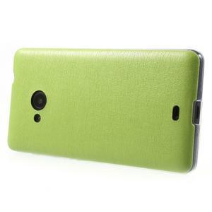 Ultra tenký kryt s jemnými koženkovými zády Microsoft Lumia 535 - zelený - 3