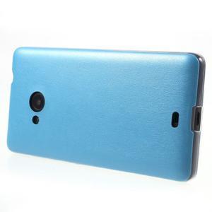 Ultra tenký kryt s jemnými koženkovými zády Microsoft Lumia 535 - modrý - 3