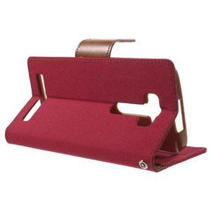 Canvas textilní/PU kožené pouzdro na Asus Zenfone 2 Laser - červené - 3