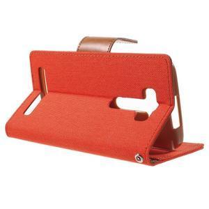 Canvas textilní/PU kožené pouzdro na Asus Zenfone 2 Laser - oranžové - 3
