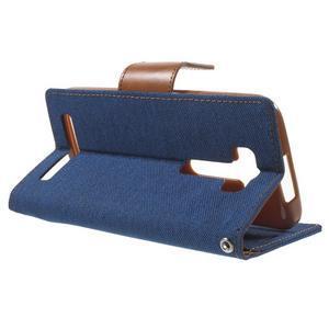 Canvas textilní/PU kožené pouzdro na Asus Zenfone 2 Laser - modré - 3