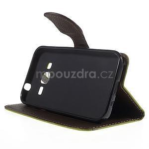 Zelené/hnědé peněženkové pouzdro na Samsung Galaxy Core Prime - 3