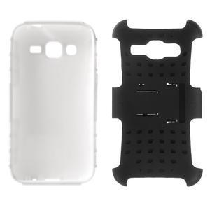 Extrémně odolný obal se stojánkem na Samsung Galaxy Core Prime - bílý - 3