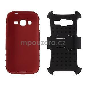 Extrémně odolný obal se stojánkem na Samsung Galaxy Core Prime - červený - 3