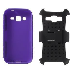 Extrémně odolný obal se stojánkem na Samsung Galaxy Core Prime - fialový - 3
