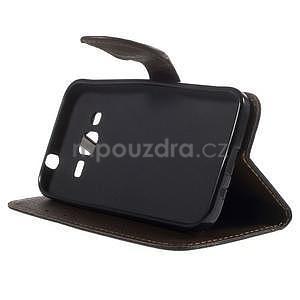 Černé/hnědé peněženkové pouzdro na Samsung Galaxy Core Prime - 3