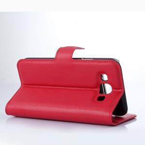 PU kožené peněženkové pouzdro na Samsung Galaxy E5 - červené - 3