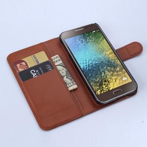 PU kožené peněženkové pouzdro na Samsung Galaxy E5 - hnědé - 3