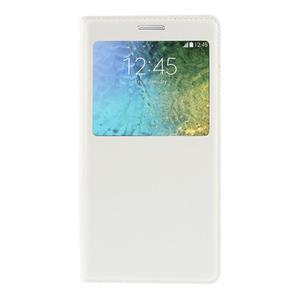 PU kožené pěněženkové pouzdro s okýnkem Samsung Galaxy E5 - bílé - 3