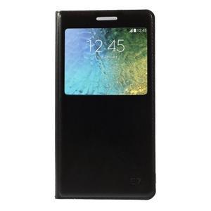 PU kožené pěněženkové pouzdro s okýnkem Samsung Galaxy E5 - černé - 3