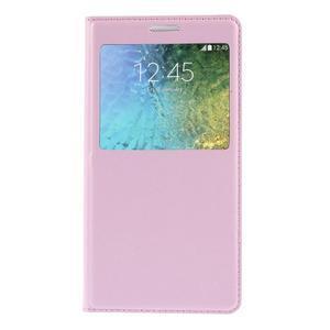 PU kožené pěněženkové pouzdro s okýnkem Samsung Galaxy E5 - růžové - 3