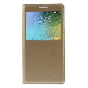 PU kožené pěněženkové pouzdro s okýnkem Samsung Galaxy E5 - zlaté - 3