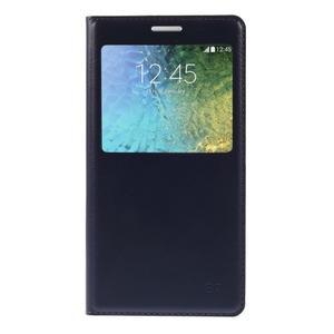 PU kožené pěněženkové pouzdro s okýnkem Samsung Galaxy E5 - tmavě modré - 3