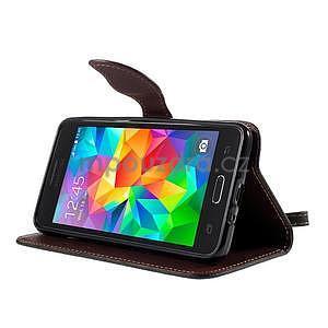 Černé/hnědé zapínací peněženkové pouzdro na Samsung Galaxy Grand Prime - 3
