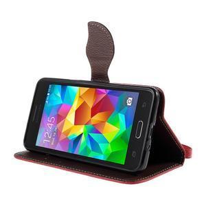 Červené/hnědé zapínací peněženkové pouzdro na Samsung Galaxy Grand Prime - 3