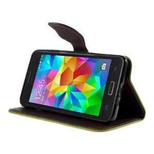 Zelené/hnědé zapínací peněženkové pouzdro na Samsung Galaxy Grand Prime - 3