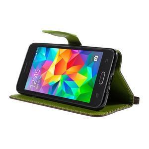 Hnědé/zelené zapínací peněženkové pouzdro na Samsung Galaxy Grand Prime - 3