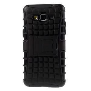 Vysoce odolný kryt se stojánkem na Samsung Galaxy Grand Prime - černý - 3
