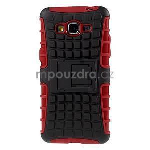Vysoce odolný kryt se stojánkem na Samsung Galaxy Grand Prime - červený - 3