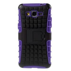 Vysoce odolný kryt se stojánkem na Samsung Galaxy Grand Prime - fialový - 3