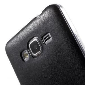 Ultratenký gelový kryt s imitací kůže na Samsung Grand Prime - černý - 3