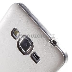 Ultratenký gelový kryt s imitací kůže na Samsung Grand Prime - bílý - 3
