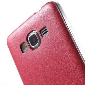 Ultratenký gelový kryt s imitací kůže na Samsung Grand Prime - červený - 3