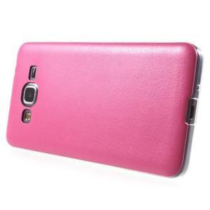 Ultratenký gelový kryt s imitací kůže na Samsung Grand Prime - rose - 3