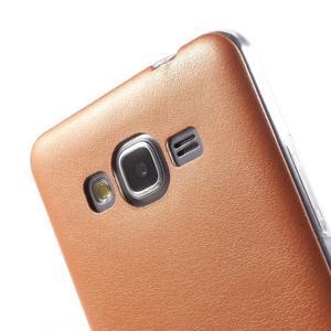 Ultratenký gelový kryt s imitací kůže na Samsung Grand Prime - oranžový - 3