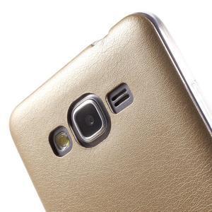 Ultratenký gelový kryt s imitací kůže na Samsung Grand Prime - zlatý - 3